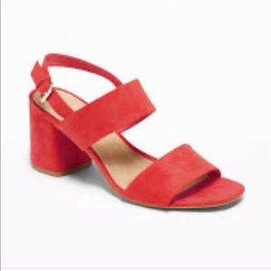 Faux-Suede heels Sandals 🧡❤️